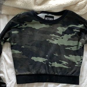 Victoria's Secret Sport cropped camo sweatshirt
